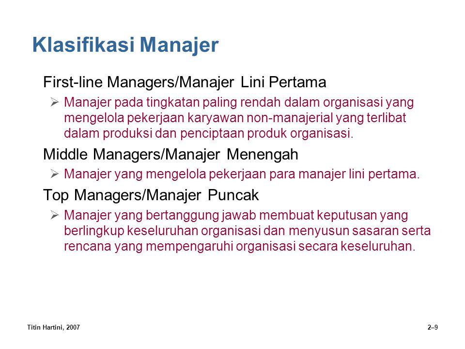 Titin Hartini, 20072–9 Klasifikasi Manajer First-line Managers/Manajer Lini Pertama  Manajer pada tingkatan paling rendah dalam organisasi yang menge