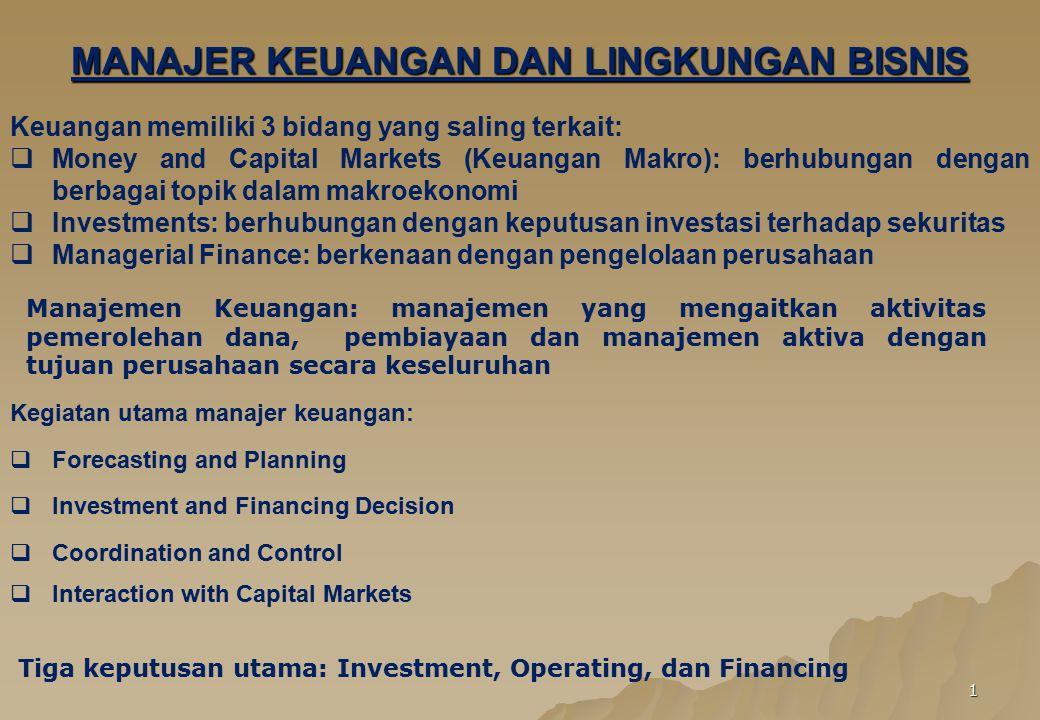 2 Tujuan perusahaan:  Memaksimumkan laba (tradisional)  tidak memperhitungkan time value of money, future return risk, dan kebijakan dividen  Memaksimumkan kemakmuran pemegang saham (harga saham)  memperhitungkan prestasi perusahaan saat ini & mendatang, dan time value of money, future return risk, dan kebijakan dividen  Memaksimumkan kemakmuran pemegang saham (harga saham) dengan memperhatikan tanggung jawab sosial Karir bidang keuangan dikelompokkan kedalam bidang utama :  Manajemen Lemabaga Keuangan mencakup bank, asuransi, lembaga penyimpanan dan pinjaman, dan lembaga kredit.
