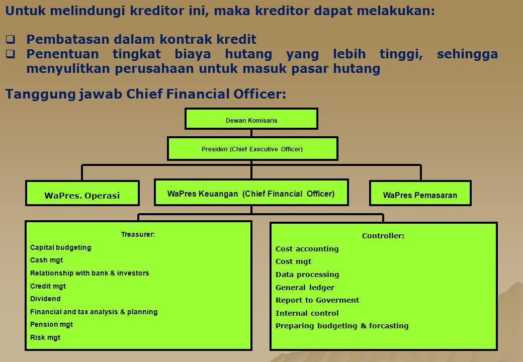 5 Untuk melindungi kreditor ini, maka kreditor dapat melakukan:  Pembatasan dalam kontrak kredit  Penentuan tingkat biaya hutang yang lebih tinggi,