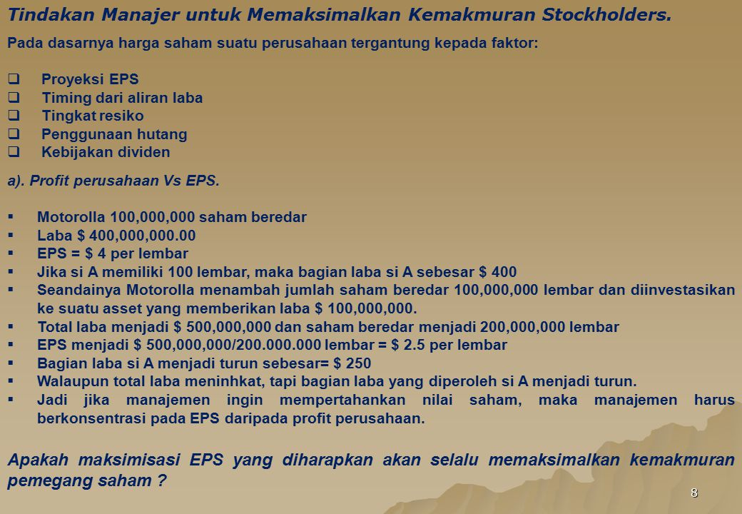 9 b).Timing of the Earnings.