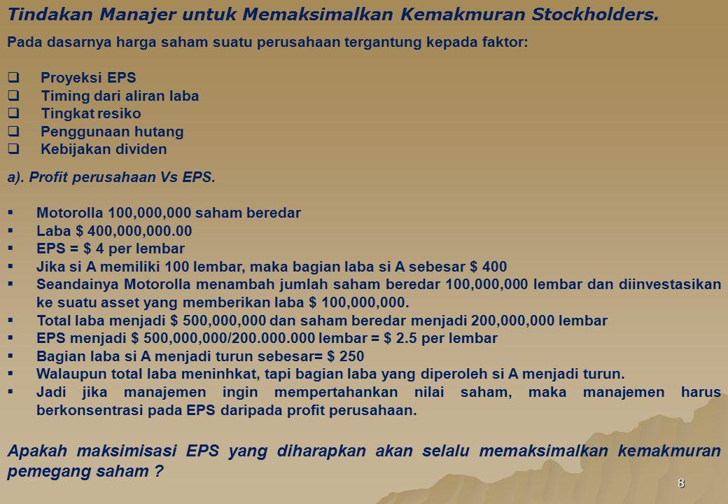 8 Tindakan Manajer untuk Memaksimalkan Kemakmuran Stockholders. Pada dasarnya harga saham suatu perusahaan tergantung kepada faktor:  Proyeksi EPS 