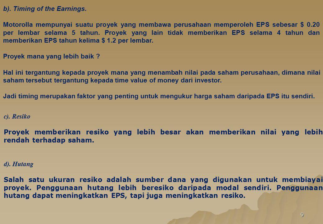 9 b). Timing of the Earnings. Motorolla mempunyai suatu proyek yang membawa perusahaan memperoleh EPS sebesar $ 0.20 per lembar selama 5 tahun. Proyek
