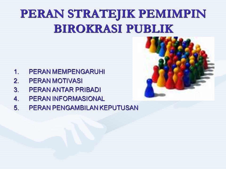 PERAN STRATEJIK PEMIMPIN BIROKRASI PUBLIK 1.PERAN MEMPENGARUHI 2.PERAN MOTIVASI 3.PERAN ANTAR PRIBADI 4.PERAN INFORMASIONAL 5.PERAN PENGAMBILAN KEPUTU