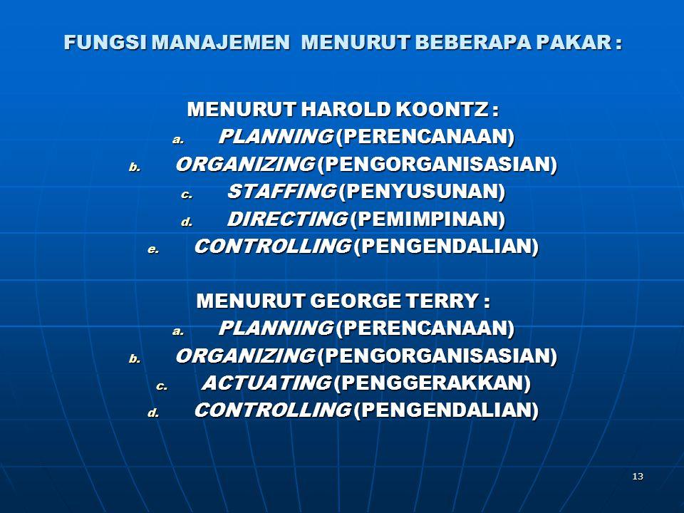 13 FUNGSI MANAJEMEN MENURUT BEBERAPA PAKAR : MENURUT HAROLD KOONTZ : a. PLANNING (PERENCANAAN) b. ORGANIZING (PENGORGANISASIAN) c. STAFFING (PENYUSUNA