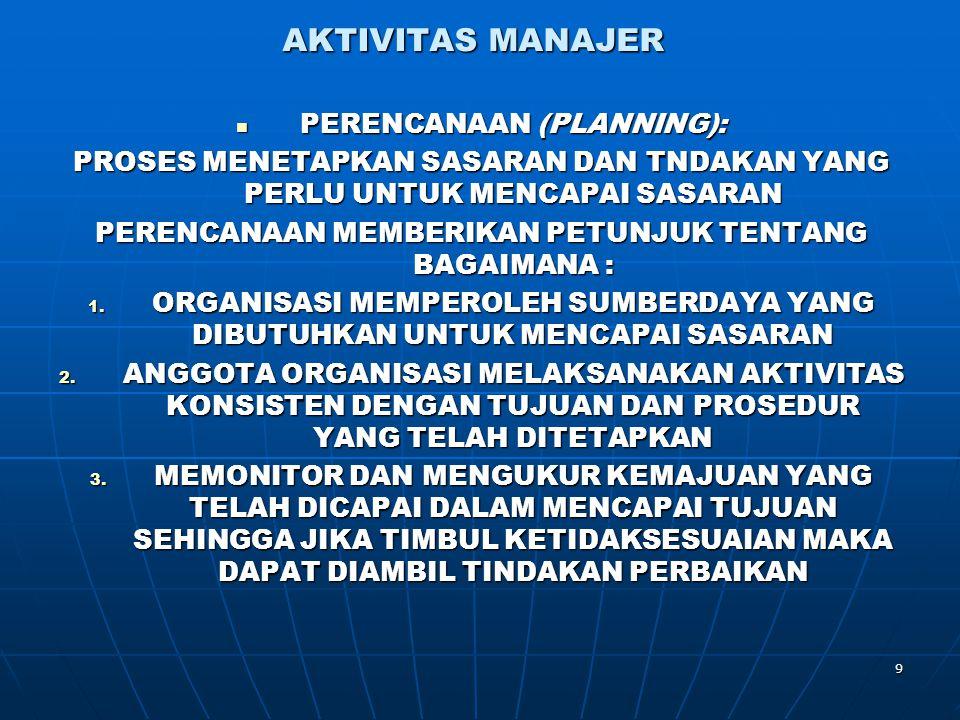 9 AKTIVITAS MANAJER PERENCANAAN (PLANNING): PERENCANAAN (PLANNING): PROSES MENETAPKAN SASARAN DAN TNDAKAN YANG PERLU UNTUK MENCAPAI SASARAN PERENCANAA