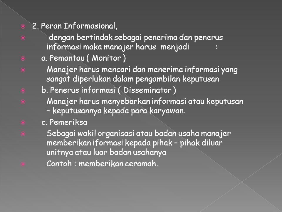  2. Peran Informasional,  dengan bertindak sebagai penerima dan penerus informasi maka manajer harus menjadi:  a. Pemantau ( Monitor )  Manajer ha