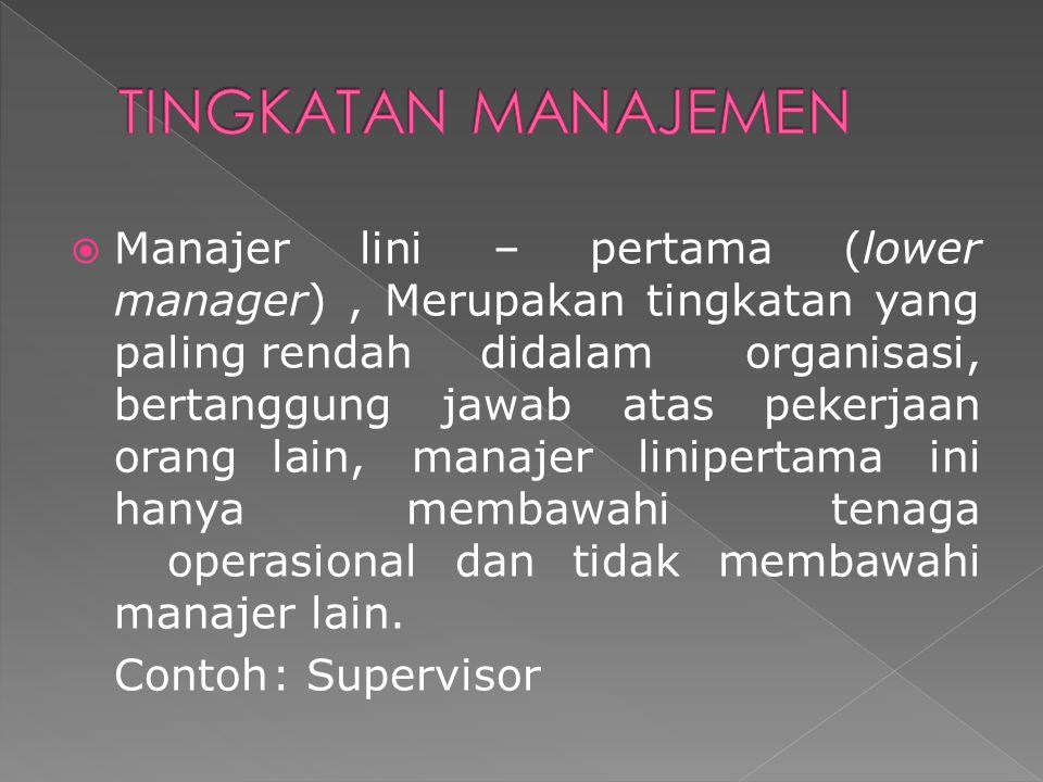  Manajer lini – pertama (lower manager), Merupakan tingkatan yang paling rendah didalam organisasi, bertanggung jawab atas pekerjaan orang lain, mana