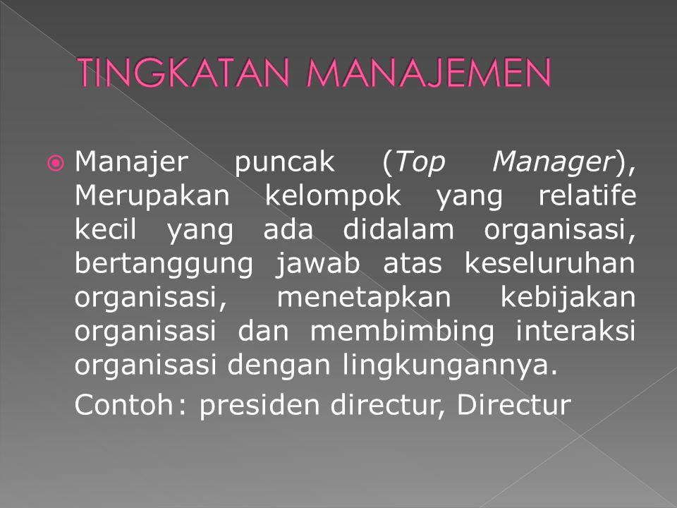  Manajer puncak (Top Manager), Merupakan kelompok yang relatife kecil yang ada didalam organisasi, bertanggung jawab atas keseluruhan organisasi, men