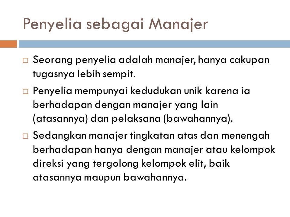 Penyelia sebagai Manajer  Seorang penyelia adalah manajer, hanya cakupan tugasnya lebih sempit.  Penyelia mempunyai kedudukan unik karena ia berhada