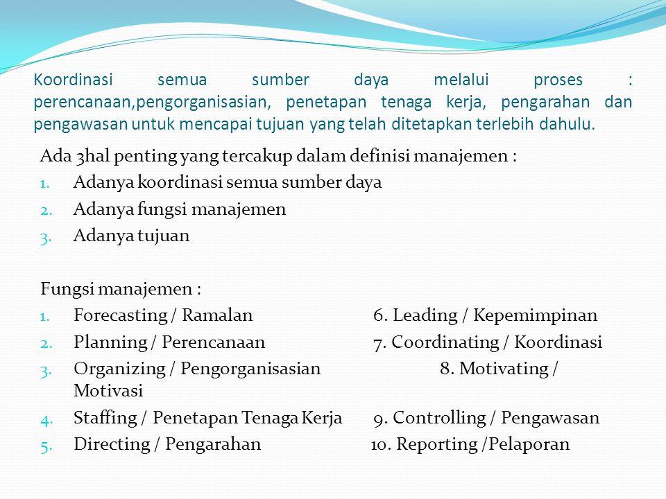 Definisi manajemen dibagi 4 pengertian : 1.Proses 2.