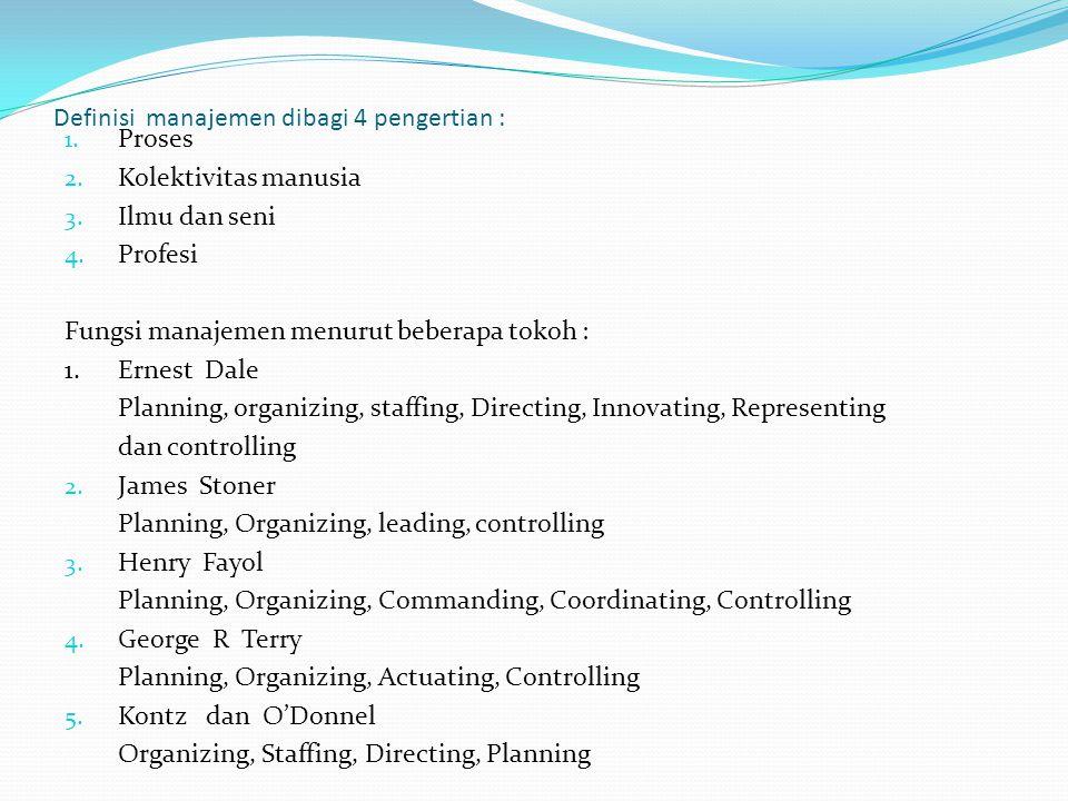 Definisi manajemen dibagi 4 pengertian : 1. Proses 2. Kolektivitas manusia 3. Ilmu dan seni 4. Profesi Fungsi manajemen menurut beberapa tokoh : 1.Ern