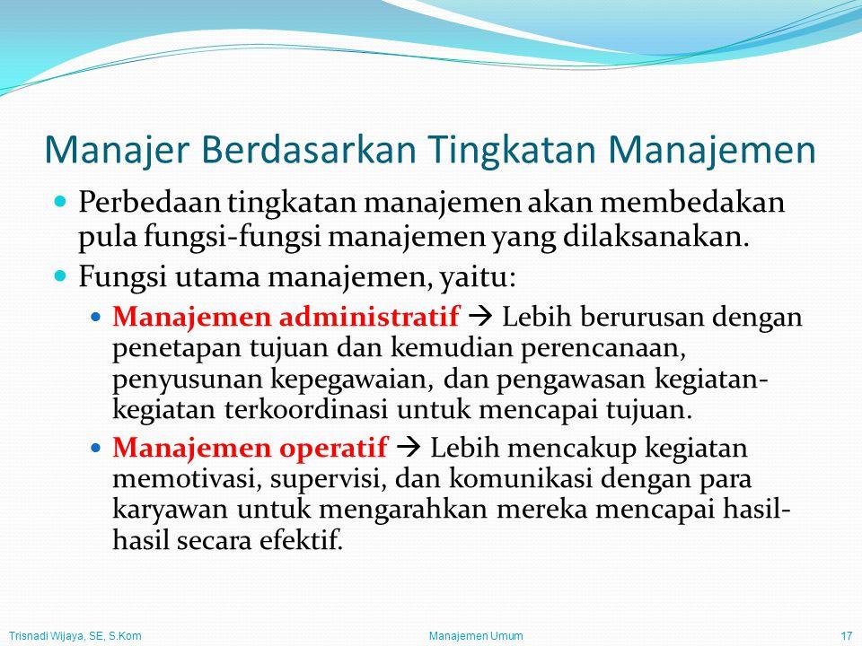 Trisnadi Wijaya, SE, S.Kom Manajemen Umum17 Manajer Berdasarkan Tingkatan Manajemen Perbedaan tingkatan manajemen akan membedakan pula fungsi-fungsi manajemen yang dilaksanakan.