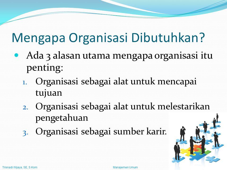 Trisnadi Wijaya, SE, S.Kom Manajemen Umum3 Mengapa Manajemen Dibutuhkan.