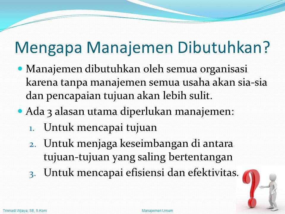 Trisnadi Wijaya, SE, S.Kom Manajemen Umum14 Tipe Manajer Manajer dapat diklasifikasikan dengan 2 cara: Menurut tingkatan mereka dalam organisasi (rendah, menengah, dan puncak) Menurut kegiatan-kegiatan organisasi untuk mana mereka bertanggung jawab (umum dan fungsional).