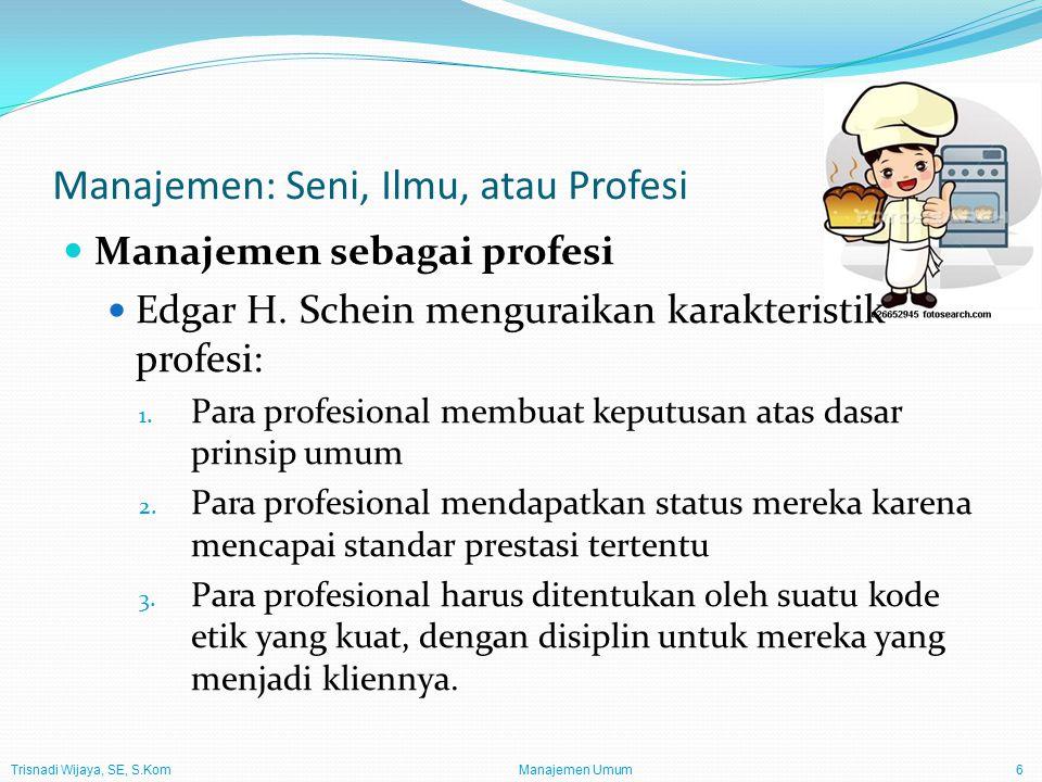 Trisnadi Wijaya, SE, S.Kom Manajemen Umum7 Proses Manajemen