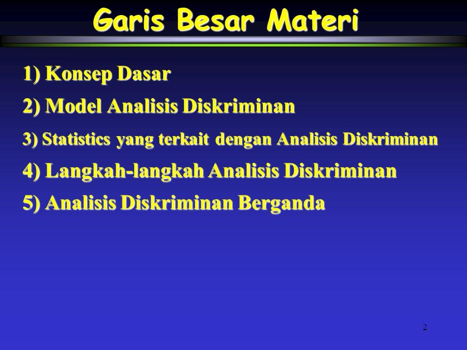 2 Garis Besar Materi 1) Konsep Dasar 2) Model Analisis Diskriminan 3) Statistics yang terkait dengan Analisis Diskriminan 4) Langkah-langkah Analisis