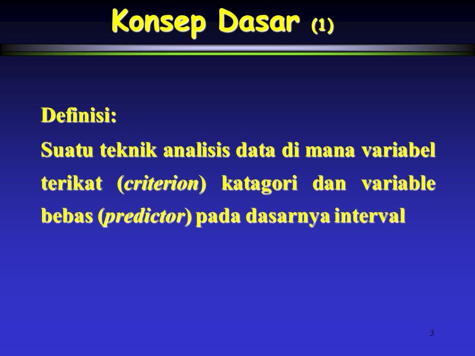 3 Definisi: Suatu teknik analisis data di mana variabel terikat (criterion) katagori dan variable bebas (predictor) pada dasarnya interval Konsep Dasa