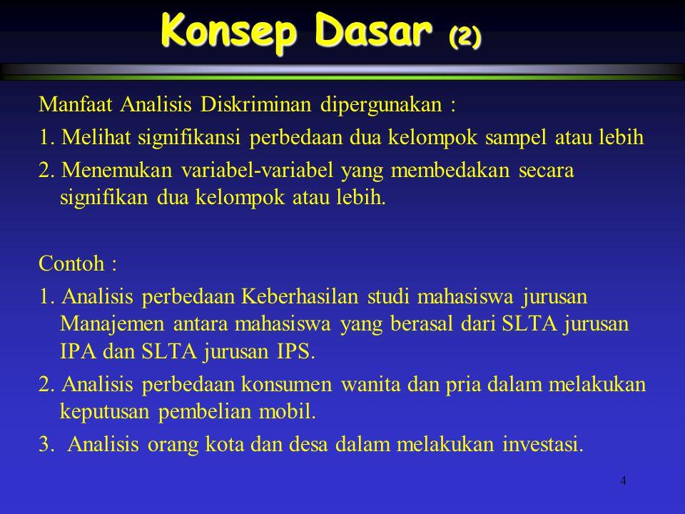 4 Konsep Dasar (2) Manfaat Analisis Diskriminan dipergunakan : 1.