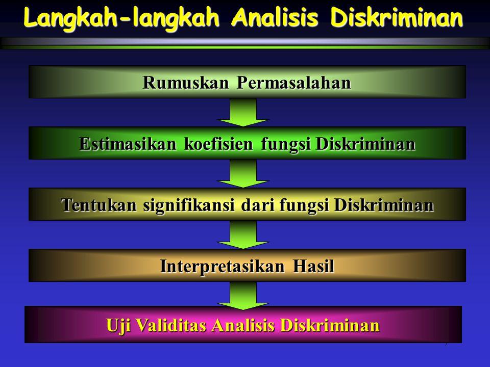 7 Langkah-langkah Analisis Diskriminan Rumuskan Permasalahan Estimasikan koefisien fungsi Diskriminan Tentukan signifikansi dari fungsi Diskriminan Interpretasikan Hasil Uji Validitas Analisis Diskriminan