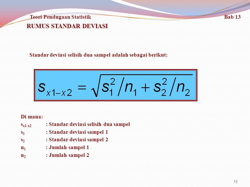 23 RUMUS STANDAR DEVIASI Standar deviasi selisih dua sampel adalah sebagai berikut: Di mana: s x1-x2 : Standar deviasi selisih dua sampel s 1 : Standar deviasi sampel 1 s 2 : Standar deviasi sampel 2 n 1 : Jumlah sampel 1 n 2 : Jumlah sampel 2 Teori Pendugaan Statistik Bab 13