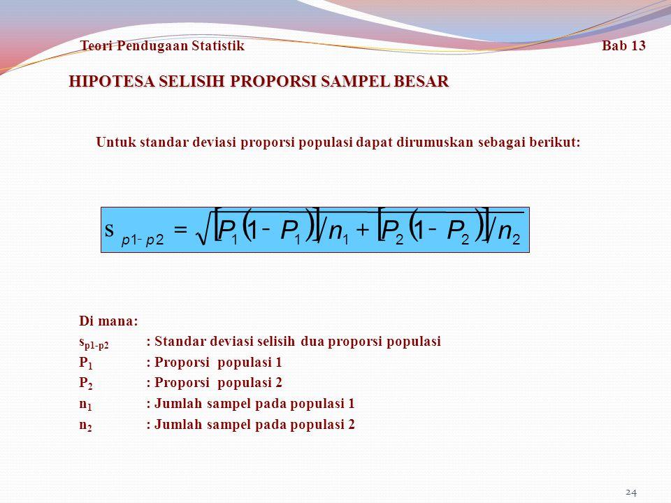 24 HIPOTESA SELISIH PROPORSI SAMPEL BESAR () [] () [] 22211121 11nPPnPP pp -+-= s - Untuk standar deviasi proporsi populasi dapat dirumuskan sebagai berikut: Di mana: s p1-p2 : Standar deviasi selisih dua proporsi populasi P 1 : Proporsi populasi 1 P 2 : Proporsi populasi 2 n 1 : Jumlah sampel pada populasi 1 n 2 : Jumlah sampel pada populasi 2 Teori Pendugaan Statistik Bab 13