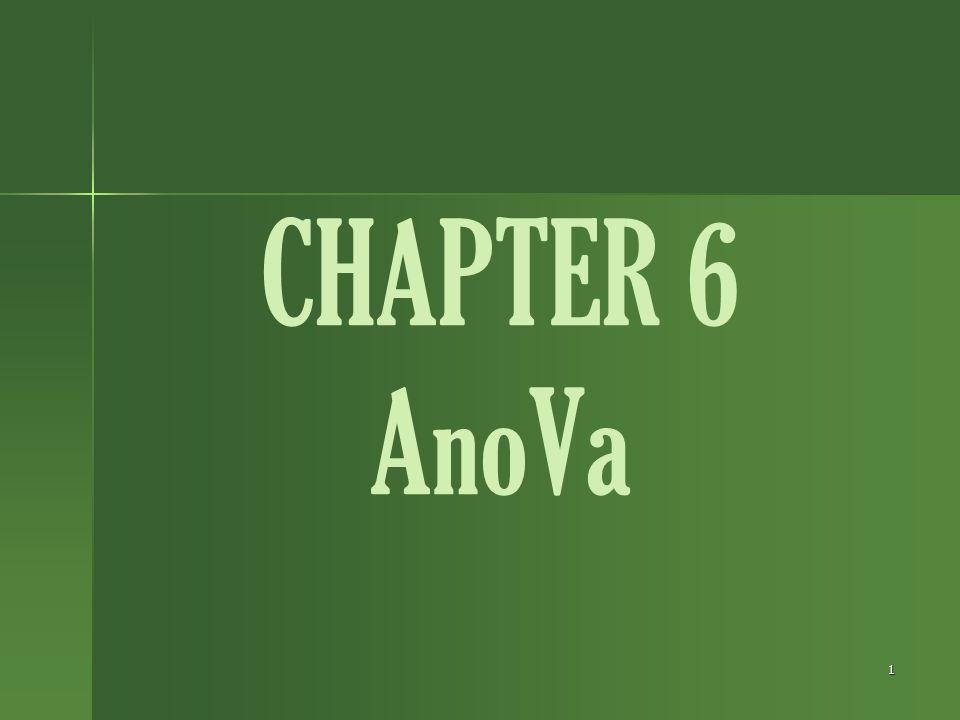 1 CHAPTER 6 AnoVa