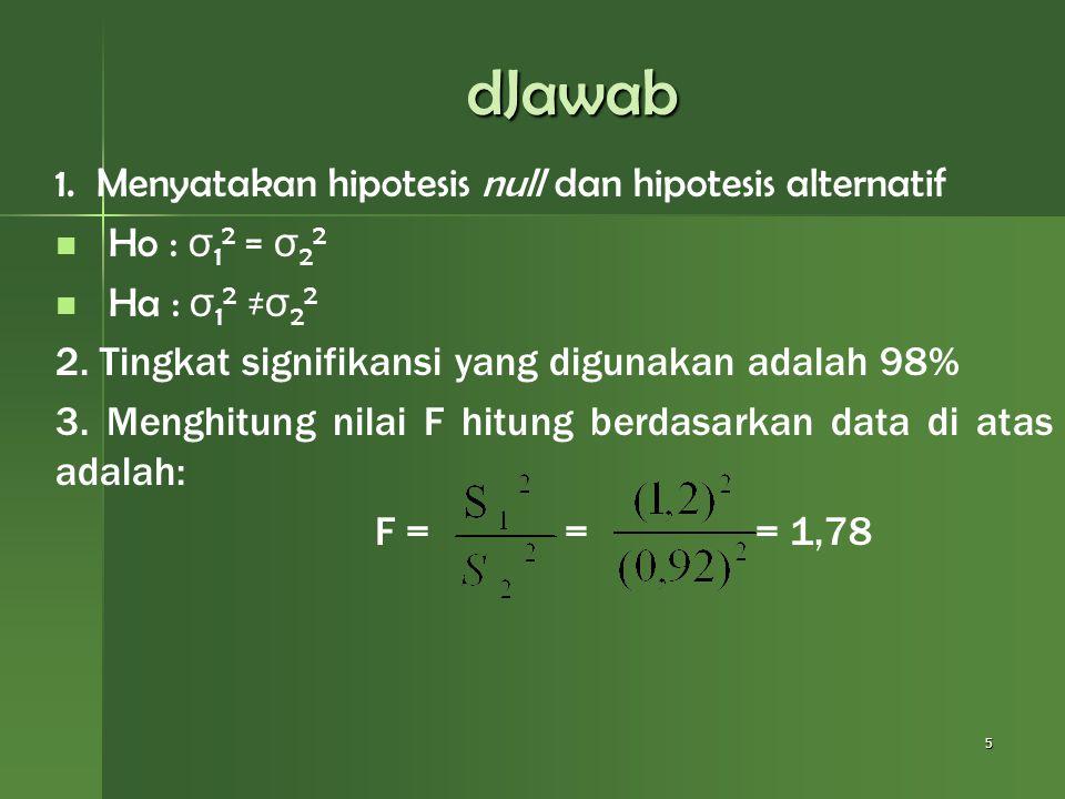 dJawab 1. Menyatakan hipotesis null dan hipotesis alternatif Ho : σ 1 2 = σ 2 2 Ha : σ 1 2 ≠ σ 2 2 2. Tingkat signifikansi yang digunakan adalah 98% 3