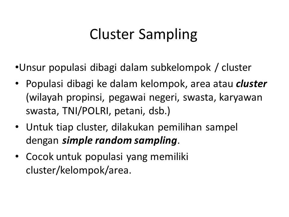 Cluster Sampling Unsur populasi dibagi dalam subkelompok / cluster Populasi dibagi ke dalam kelompok, area atau cluster (wilayah propinsi, pegawai neg