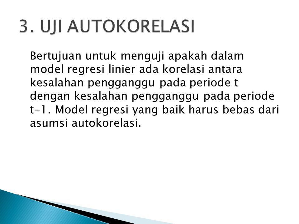 Bertujuan untuk menguji apakah dalam model regresi linier ada korelasi antara kesalahan pengganggu pada periode t dengan kesalahan pengganggu pada periode t-1.