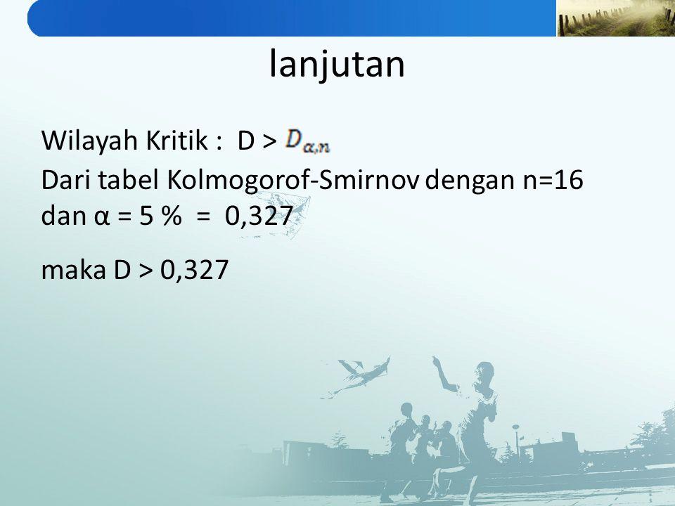 lanjutan Wilayah Kritik : D > maka D > 0,327 Dari tabel Kolmogorof-Smirnov dengan n=16 dan α = 5 % = 0,327