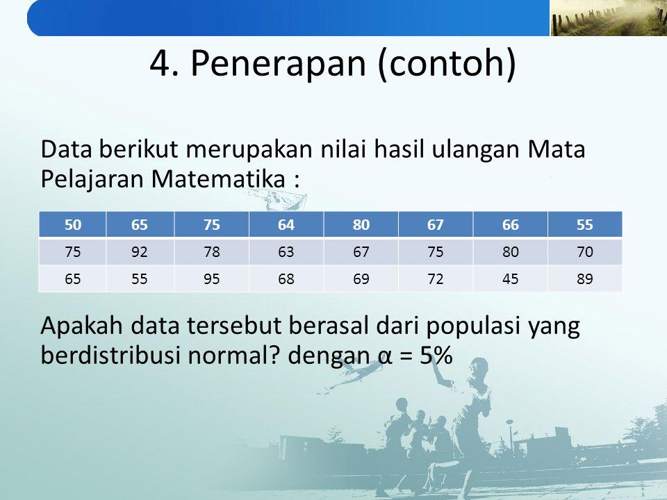 4. Penerapan (contoh) Data berikut merupakan nilai hasil ulangan Mata Pelajaran Matematika : Apakah data tersebut berasal dari populasi yang berdistri