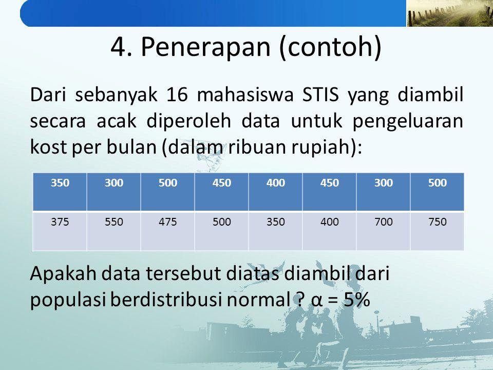 4. Penerapan (contoh) Dari sebanyak 16 mahasiswa STIS yang diambil secara acak diperoleh data untuk pengeluaran kost per bulan (dalam ribuan rupiah):