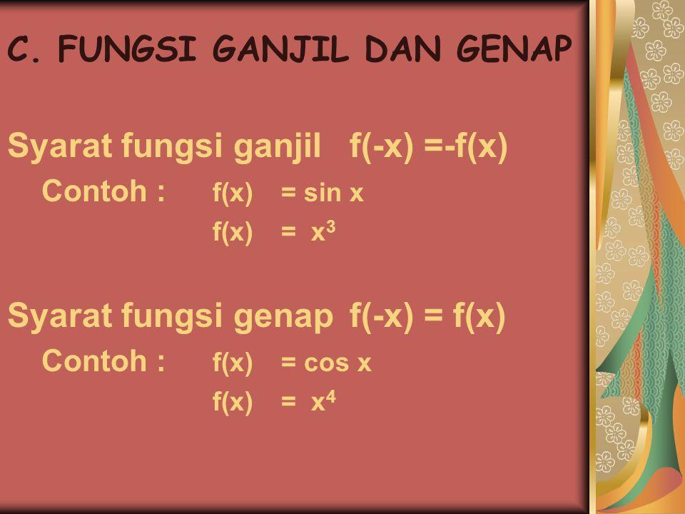 C. FUNGSI GANJIL DAN GENAP Syarat fungsi ganjilf(-x) =-f(x) Contoh : f(x) = sin x f(x) = x 3 Syarat fungsi genapf(-x) = f(x) Contoh : f(x) = cos x f(x