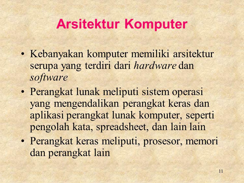 11 Arsitektur Komputer Kebanyakan komputer memiliki arsitektur serupa yang terdiri dari hardware dan software Perangkat lunak meliputi sistem operasi