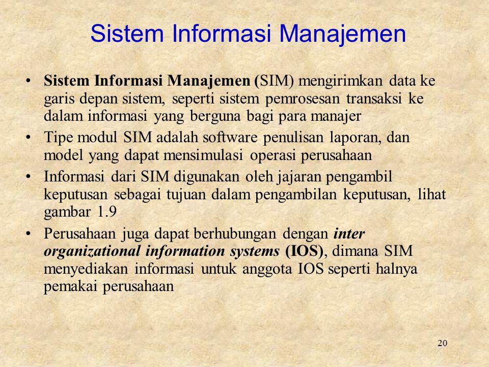 20 Sistem Informasi Manajemen Sistem Informasi Manajemen (SIM) mengirimkan data ke garis depan sistem, seperti sistem pemrosesan transaksi ke dalam in