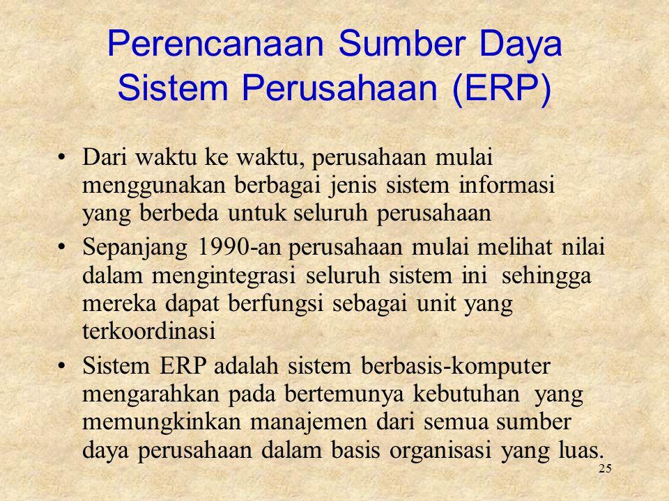 25 Perencanaan Sumber Daya Sistem Perusahaan (ERP) Dari waktu ke waktu, perusahaan mulai menggunakan berbagai jenis sistem informasi yang berbeda untu