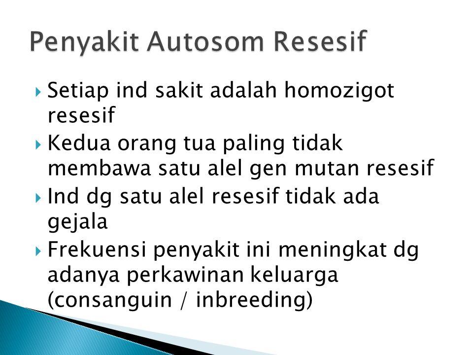  Setiap ind sakit adalah homozigot resesif  Kedua orang tua paling tidak membawa satu alel gen mutan resesif  Ind dg satu alel resesif tidak ada ge