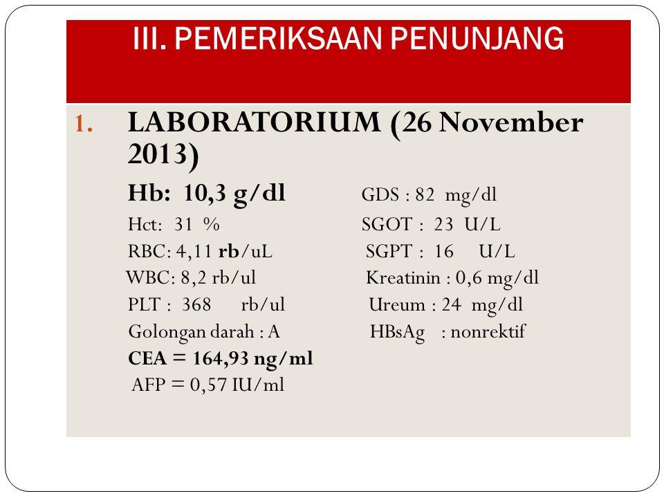 III. PEMERIKSAAN PENUNJANG 1. LABORATORIUM (26 November 2013) Hb: 10,3 g/dl GDS : 82 mg/dl Hct: 31 % SGOT : 23 U/L RBC: 4,11 rb/uL SGPT : 16 U/L WBC: