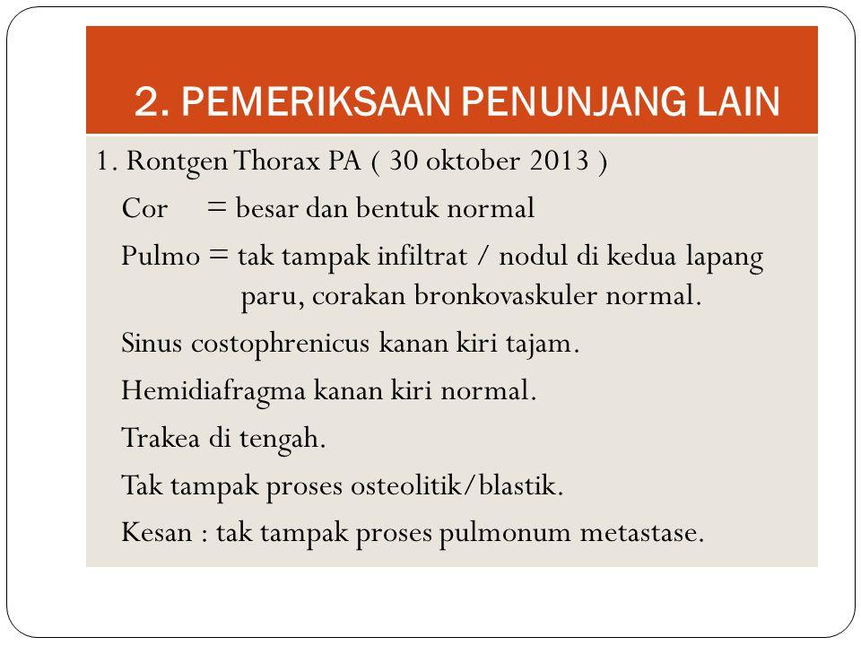 2. PEMERIKSAAN PENUNJANG LAIN 1. Rontgen Thorax PA ( 30 oktober 2013 ) Cor = besar dan bentuk normal Pulmo = tak tampak infiltrat / nodul di kedua lap