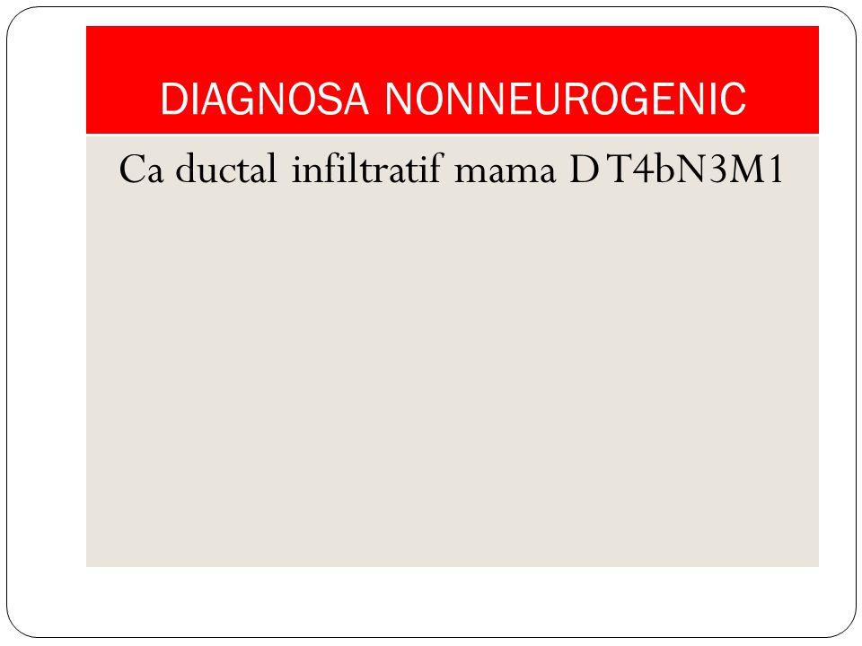 DIAGNOSA NONNEUROGENIC Ca ductal infiltratif mama D T4bN3M1