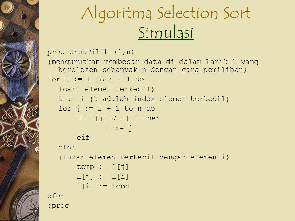 Algoritma Selection Sort Simulasi Simulasi proc UrutPilih (l,n) {mengurutkan membesar data di dalam larik l yang berelemen sebanyak n dengan cara pemi