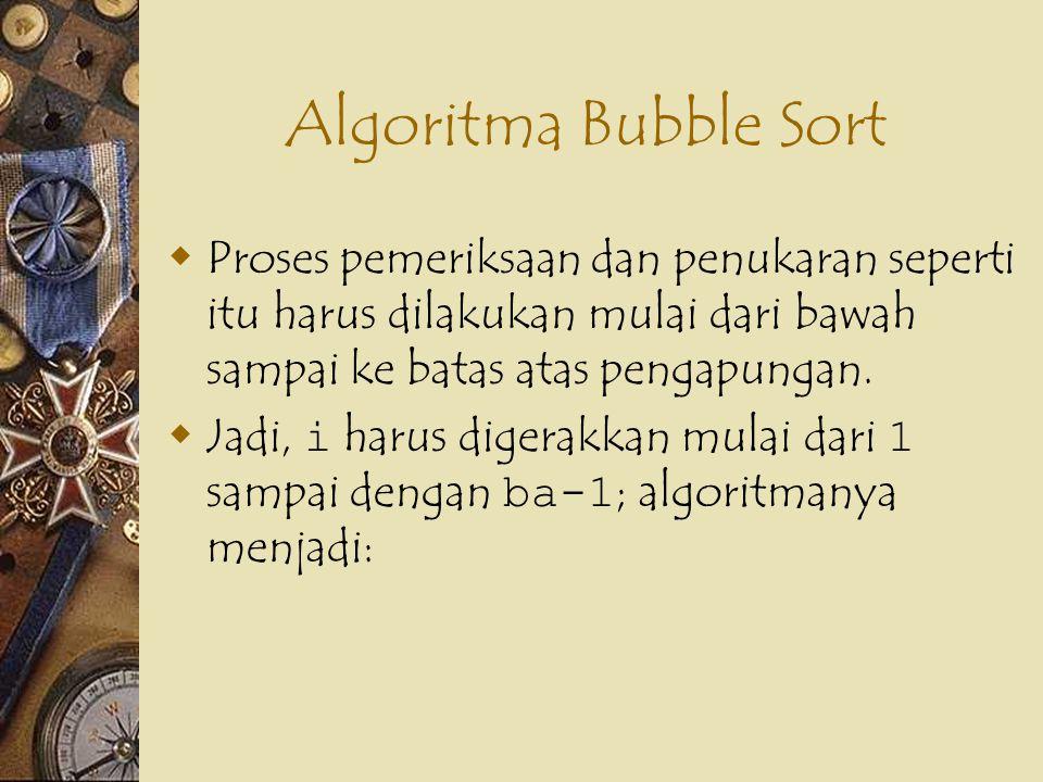 Algoritma Bubble Sort  Proses pemeriksaan dan penukaran seperti itu harus dilakukan mulai dari bawah sampai ke batas atas pengapungan.  Jadi, i haru