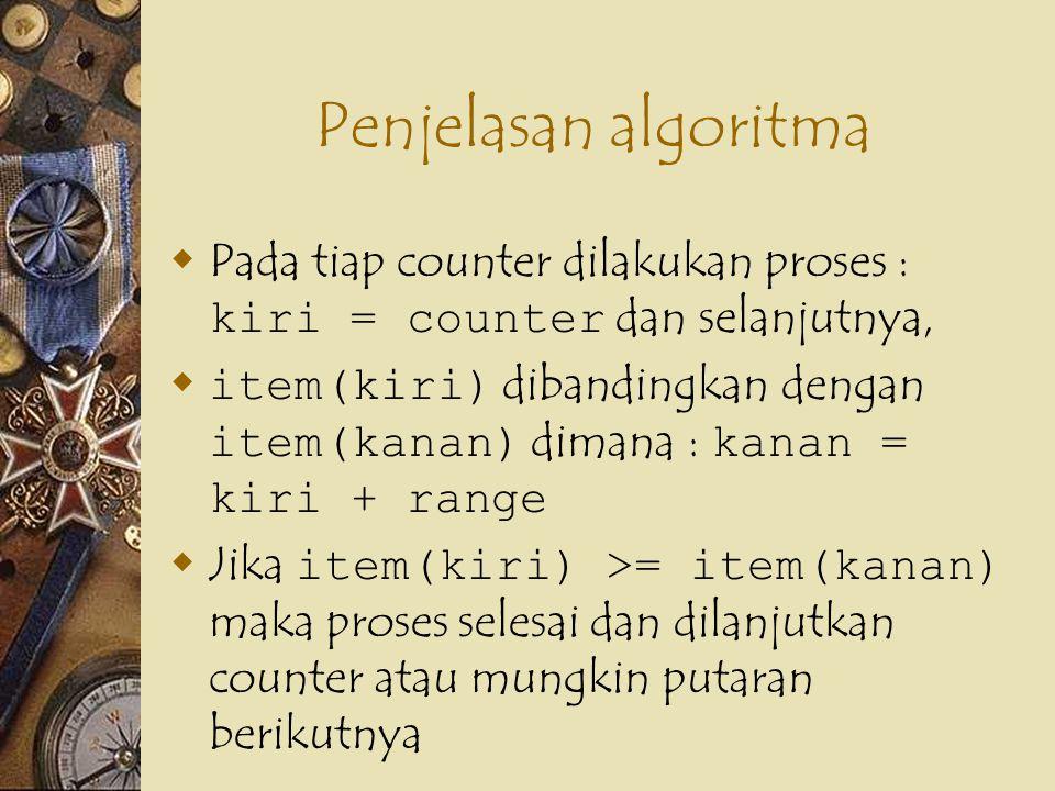 Penjelasan algoritma  Pada tiap counter dilakukan proses : kiri = counter dan selanjutnya,  item(kiri) dibandingkan dengan item(kanan) dimana : kana