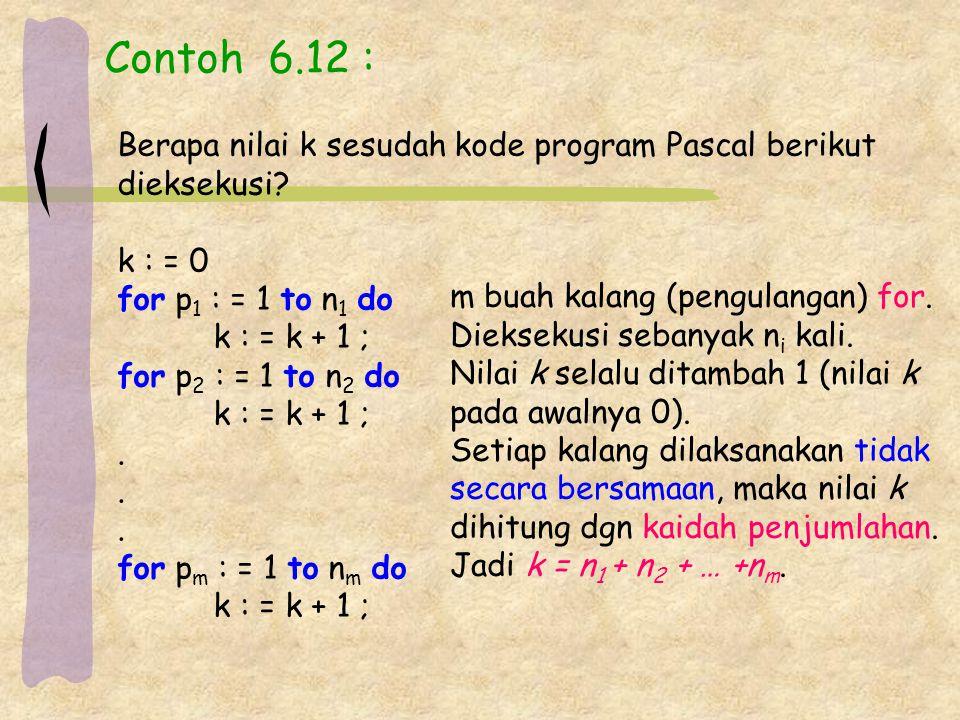 Contoh 6.12 : Berapa nilai k sesudah kode program Pascal berikut dieksekusi.