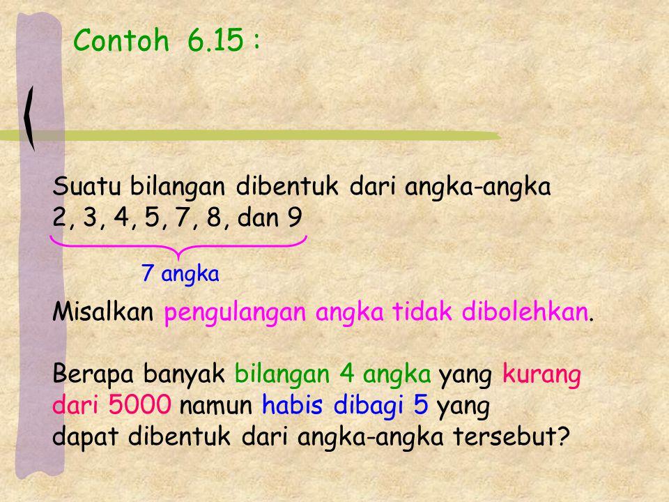 Contoh 6.15 : Suatu bilangan dibentuk dari angka-angka 2, 3, 4, 5, 7, 8, dan 9 Misalkan pengulangan angka tidak dibolehkan.