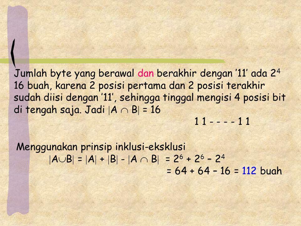 Jumlah byte yang berawal dan berakhir dengan '11' ada 2 4 16 buah, karena 2 posisi pertama dan 2 posisi terakhir sudah diisi dengan '11', sehingga tinggal mengisi 4 posisi bit di tengah saja.