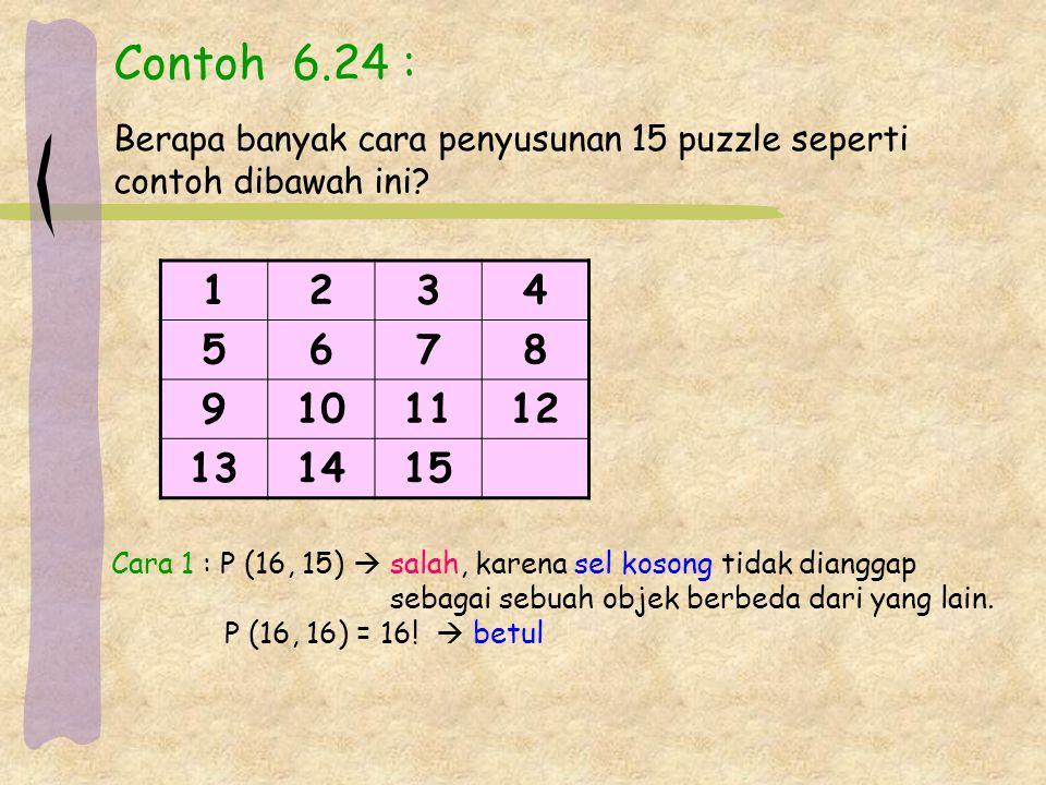 Contoh 6.24 : Berapa banyak cara penyusunan 15 puzzle seperti contoh dibawah ini.