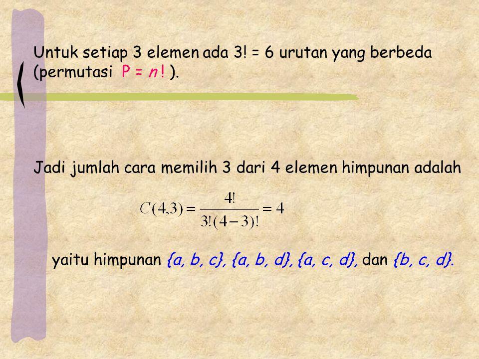 Untuk setiap 3 elemen ada 3.= 6 urutan yang berbeda (permutasi P = n .