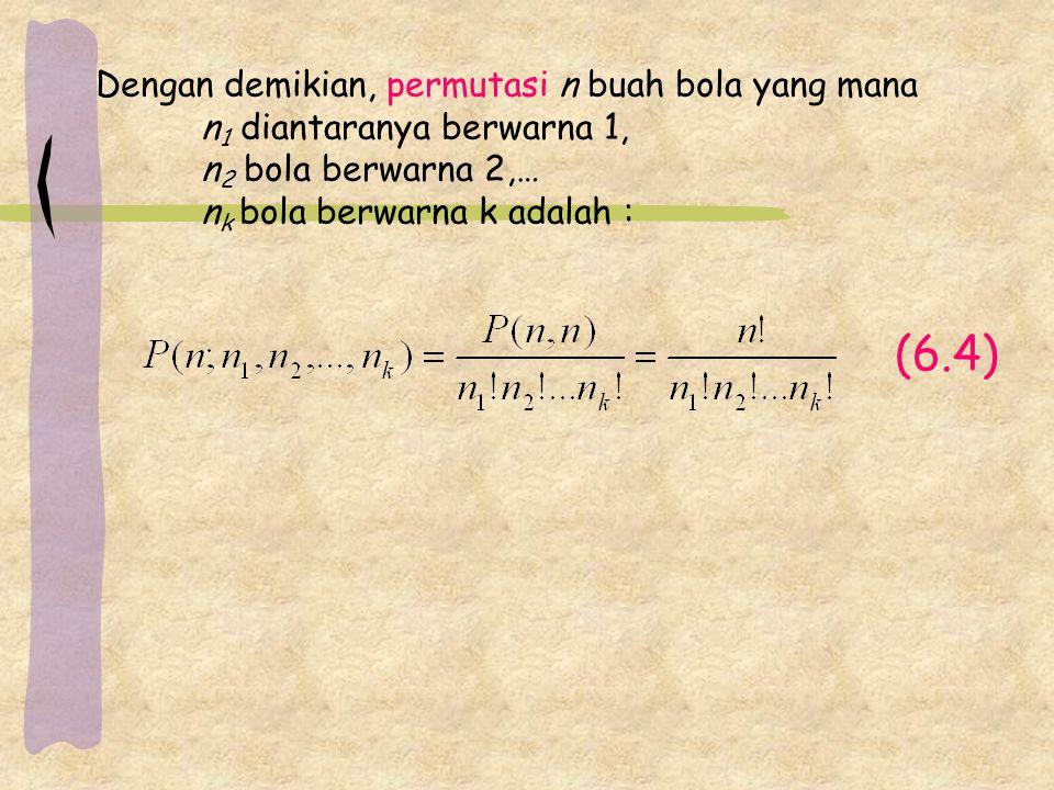 (6.4) Dengan demikian, permutasi n buah bola yang mana n 1 diantaranya berwarna 1, n 2 bola berwarna 2,… n k bola berwarna k adalah :