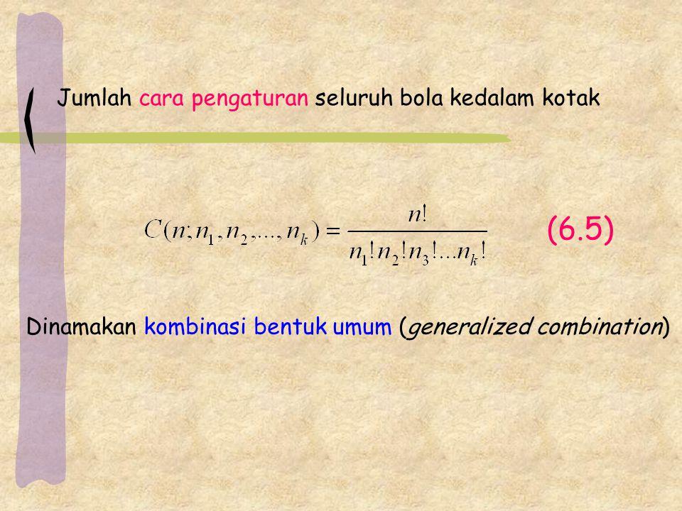 (6.5) Dinamakan kombinasi bentuk umum (generalized combination) Jumlah cara pengaturan seluruh bola kedalam kotak